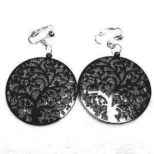 """2"""" Black Elegant Crystal Tree Clipon Hoop Earring"""